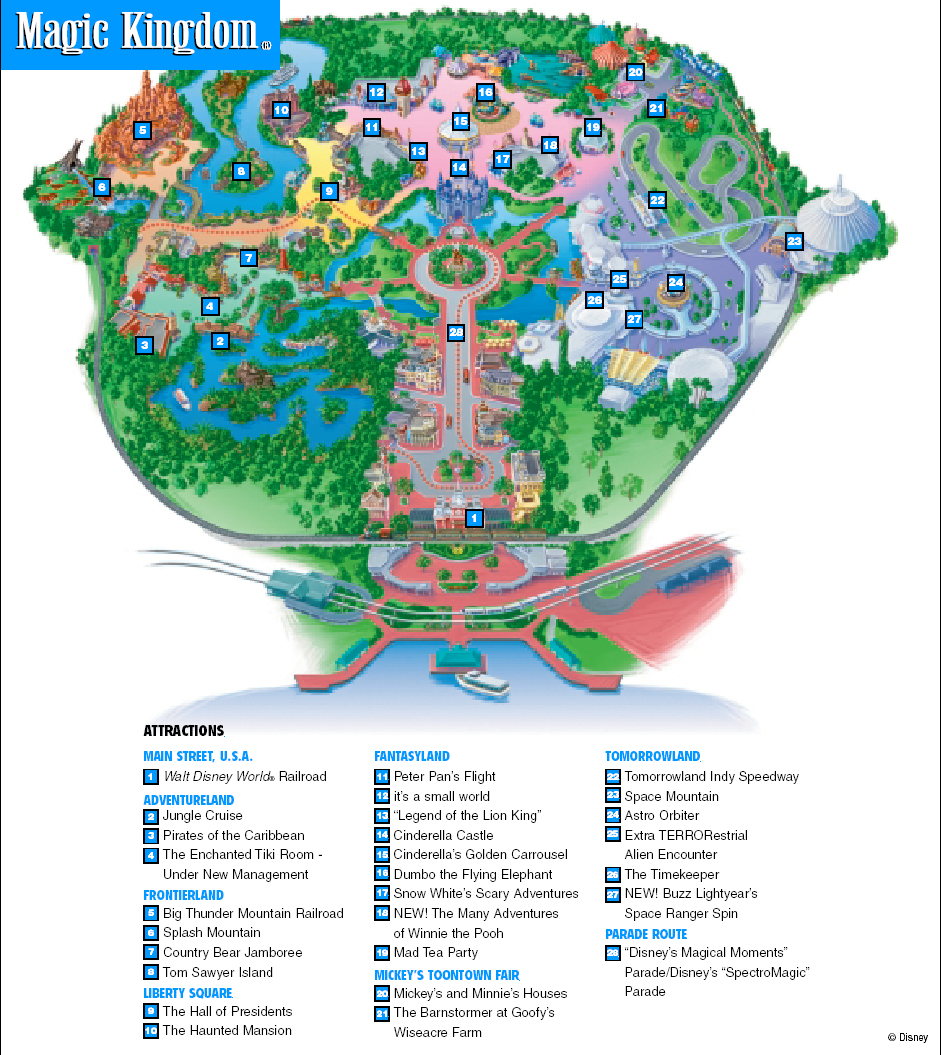 Magic Kingdom Park Map (click on map for larger view)